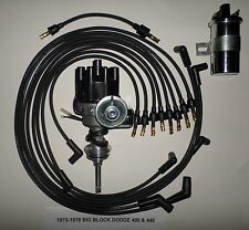 DODGE 440 73-78 BLACK Small Female Cap HEI Distributor+45K Coil+Spark Plug Wires