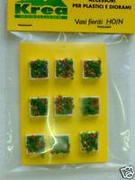 Vasi fioriti quadrati per plastico o diorama H0 1:87 - N 1:160 pezzi 9 KREA