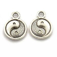 Yin Yang Charm/Pendant Tibetan Antique Silver 10mm  8 Charms Accessory Jewellery