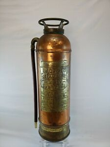 "Antique Vintage ""BADGER'S"" Copper Brass Fire Extinguisher Empty 2 1/2 Gallon"