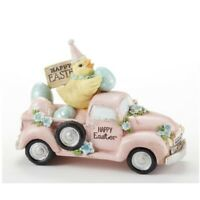 Happy Easter Chick in Pink Car with Eggs Figurine New