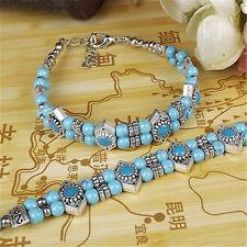 1 Piece Charm Design Tibetan Silver Bracelet Colorful Beads Inlay Adjust Bangle