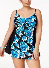 8808573686ac3 Island Escape plus size black floral twist front swimdress swimsuit 16W