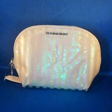 Victoria's Secret - White Sequin Striped - Vinyl Cosmetic Bag - Large Wedge NEW