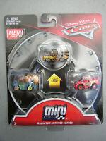 NEW DISNEY PIXAR CARS MINI RACERS RADIATOR SPRINGS 3PK GOLD RAMONE MATER McQUEEN