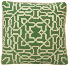 "19"" x 19"" Wool Needlepoint Window Design Green Pillow with Checker Cording"