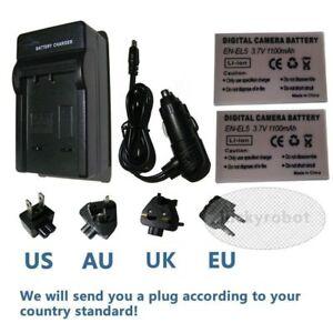2X EN-EL5 Battery / Charger for Nikon Coolpix P500 P510 P520 P530 P80 P90 P100