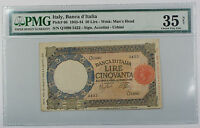 1943-44 Italy Banca d'Italia 50 Lire Note Pick# 66 PMG 35 Choice Very Fine Tear