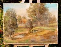 altes Ölgemälde von T.Albers Bauernhof mit Weiher schöne Künstlerarbeit