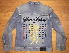 Men's Sean John Jean Jacket Chinese Dragon Lettering Embroidery Size Large L