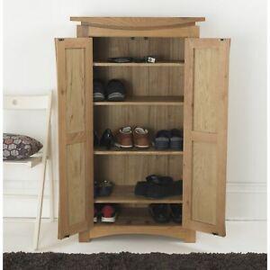 Crescent solid oak modern furniture hallway shoe storage cabinet cupboard