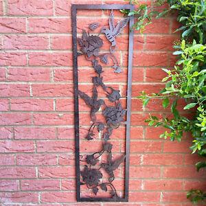 Narrow Portait Rusted Metal Hummingbird & Flowers Home Garden Bird Wall Art Gift