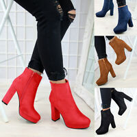 New Womens Ladies Ankle Boots Platform Zip High Block Heel Casual Shoes Sizes