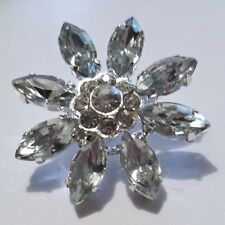2 Silver Grade A Rhinestone Crystal Flower Buttons 25mm High Quality M0319