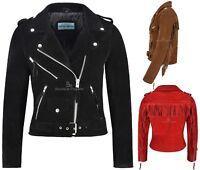 Ladies Fringe BRANDO Suede Leather Jacket Biker Motorcycle Style Real MBF