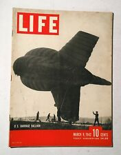 Vintage Life Magazine March 9 1942 Back Issue US Barrage Balloon Cover WWII Era