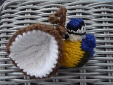 Hand Knitted blue tit with shell decoration