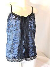 Lane Bryant Women's Corset Bustier Size 16 Black Blue Lace Jaquard Cami Top
