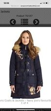 Brand New Without Tag Joe Browns Navy Embroided Parka Size 14