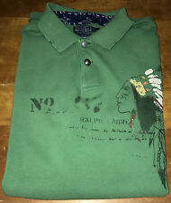 NWT Ralph Lauren Green Polo Shirt Native INDIAN CHIEF Mens S  Small
