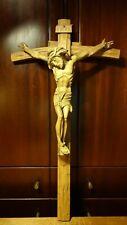 "🕊 VINTAGE 26"" HAND CARVED WOODEN WALL CRUCIFIX CROSS JESUS CHRIST DNJC BODY 🕊"
