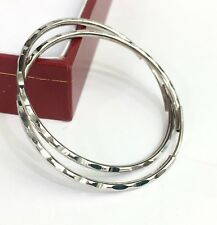 18k Solid White Gold Cute Hoop Earrings 30mm .Diamond Cut Design. 3.22 grams
