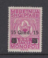 1941 ALBANIA: occupazione italiana 15q su 30Q doganale & accise TIMBRO