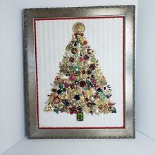 "Vintage Jewelry Art Framed Christmas Tree 16"" x 20"""