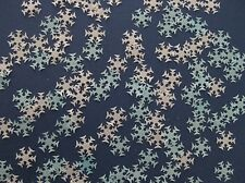 40 EDIBLE BLUE / WHITE FROZEN SNOWFLAKE RICE PAPER CUPCAKE DECORATION TOPPER