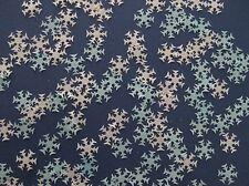 40 EDIBLE BLUE / WHITE FROZEN SNOWFLAKE RICE PAPER CUPCAKE DECORATION TOPPER