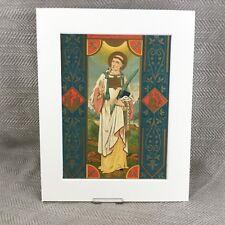 Antique Religious Print Icon Saint Catholic Priest Illuminated Art 19th Century