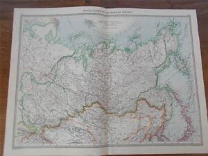 Antique c1904 Colour Map of ASIATIC RUSSIA & THE SIBERIAN RAILWAY Railwayana VGC