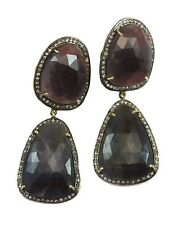 Red Blue Sapphire Earrings Natural Raw Bezel Double 14k Gold Filled Post Stud