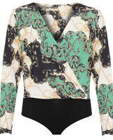 Plus Ladies Womens Scarf Print Baroque Plunge Long Sleeve Wrap Bodysuit Leotard