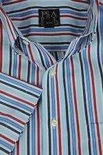 Jos un Banco Hombre Azul/Blanco & Rojo Manga Corta Algodón Camisa Informal L