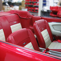 Ford Mustang Deluxe Pony Seat Trim Kit B/Red & White 65 1964 1965 1966 FASTBACK