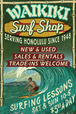 Waikiki Beach Surf Shop Hawaii Travel Art Poster Print 13X19 (33X48cm)