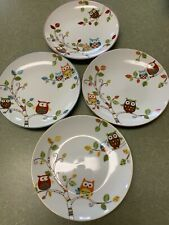 OWL PLATES SET OF 4 ENCHANTED WOODS APPETIZER SNACK DISHWARE BRAND 222 FIFTH