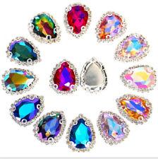 1 x Large Tear Drop Glass Crystal Rhinestone Sew On Gem 17mm x 23mm  #1 AB
