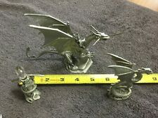Ral Partha Dragon, Tsr Pp501, Pewter Figurine 1988 Vintage and 2 Other Figures