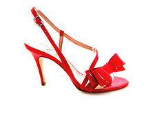 NEW DESIGNER NATAN EDOUARD VERMEULEN RED PATENT LEATHER BOW DETAIL SANDALS 8.5M