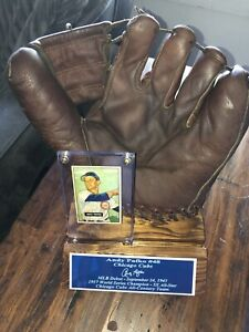 Vintage Baseball Glove Andy Pafko Chicago Cubs,1951 Bowman Card