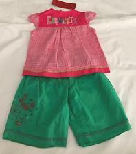 CATIMINI Baby Girls 6m (3-6m) PANTS & TOP 2pc SUMMER PINK  CHECK SET/OUTFIT NWT