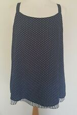Size 14 Top blue & white polka dot sleeveless square neck double layers BNWT