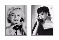 Audrey Hepburn and Marilyn Monroe on the Phone Canvas Print TWO-PIECE SET