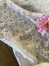 "Vintage White Floral Lace Curtain Panel Pair 84x60"" 🌺"