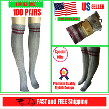100 Pair LOT Women Knit Over the Knee Gray Envy Thigh High Soft Socks Size 9-11