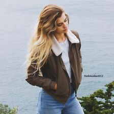 Brandy Melville Olive Green Faux Fur lined Nelson Aviator jacket NWT OS