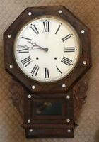 ANTIQUE AMERICAN OAK PENDULUM CHIMING WALL CLOCK w/MOTHER OF PEARL