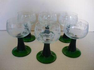6 verres à vin blanc Alsace type « Roemer » - décor de vignes